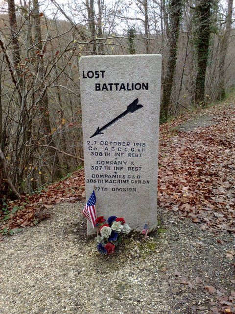 Lost Battalion marker, Binarville, France 2008